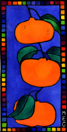 bright orange mandarins with sky blue background and rainbow border